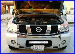 120W 20 LED Light Bar with Lower Bumper Mounting Bracket, Wiring For Nissan Titan