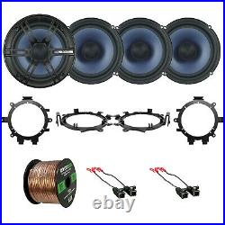 4x EnrockMarine Audio 6.5'' 2-Way Speakers with Harnesses + Brackets, 50 ft Wire