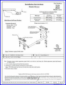 Reese Trailer Tow Hitch For 11-17 Honda Odyssey with Wiring Harness Kit